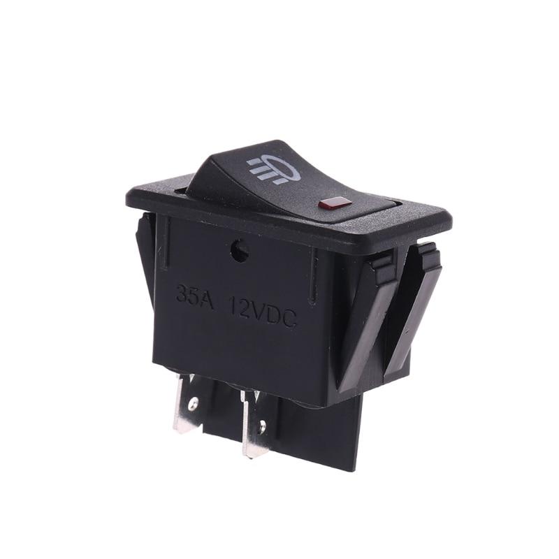 12v 35a Universal Car Fog Light Rocker Switch Red Led Dash Dashboard 4pins