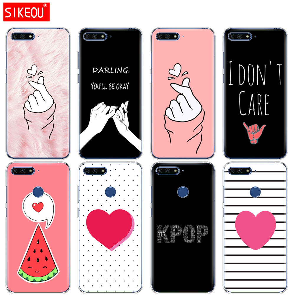 Silicone <font><b>Cover</b></font> <font><b>Phone</b></font> <font><b>Case</b></font> For Huawei Honor 7A PRO 7C Y5 Y6 Y7 Y9 2017 2018 Prime Love on the finger <font><b>kpop</b></font> hear image
