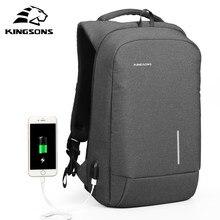 Kingsons novo portátil mochilas com usb externo carregamento portátil mochila para homem e mulher viagem de negócios anti-thef mochila