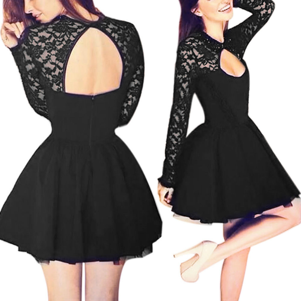Sexy open back black women summer casual dress long sleeve stitching sexy open back black women summer casual dress long sleeve stitching lace party cocktail short dresses in dresses from womens clothing accessories on ombrellifo Gallery
