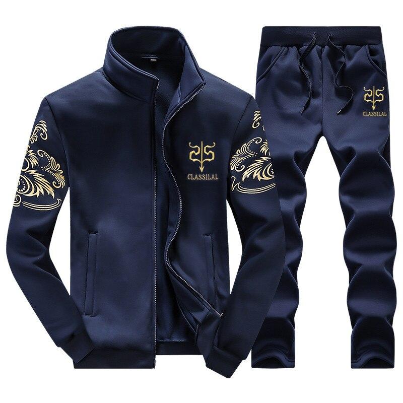 2019 Spring Autumn Men's Sportswear Suit Clothing Set Tracksuit Men 2 Pieces Casual Sweatshirts Pants Plus Size 6XL 7XL 8XL 9XL