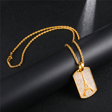 HIP Hop 316L Stainless Steel Full Rhinestone Bling Iced Out Tower Style Necklace Necklaces & Pendants for Men Jewelry