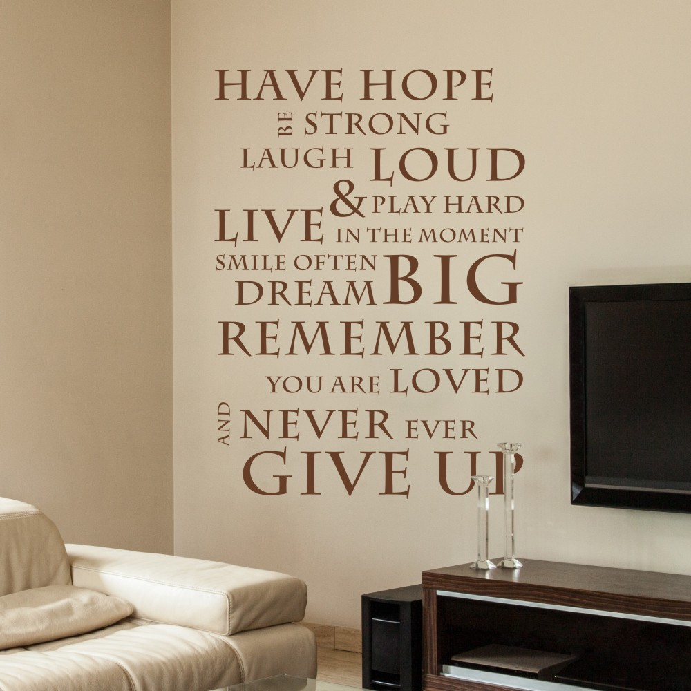 Have hope never give up inspirational wall stickers wall decals have hope never give up inspirational wall stickers wall decals wall quotes vinyl mural poster 20 x 30 s in wall stickers from home garden on amipublicfo Image collections