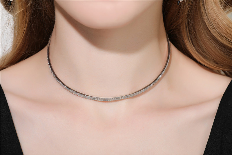 ZOZIRI fashion zircon bar Choker Necklace Black Lace Leather Velvet strip women Collar Party Jewelry Neck accessories pendant