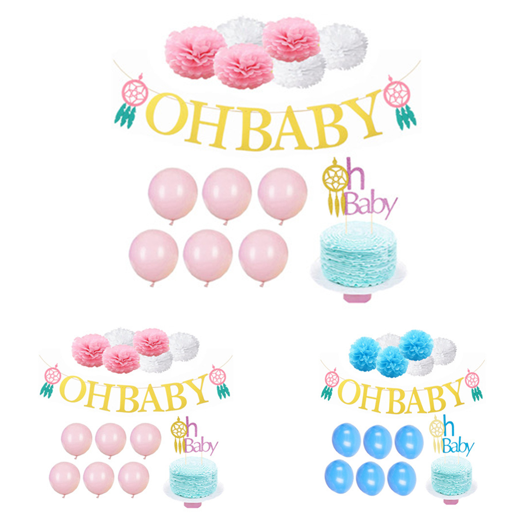 Baby Shower Its A Boy Girl Birthday Party Hanging Pompoms Banner Party Baptism Decoration Bunting Kids Favors Supplies