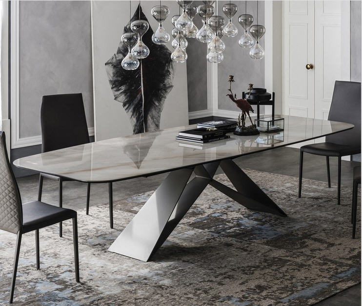 De madera maciza comedor muebles para el hogar moderno minimalista mármol  mesa de comedor y 6 ...