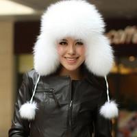ZDFURS Best Christmas gift! 2016 Fashion women 100% genuine fox hair hat Russian warm fur cap Free Shipping 8 Color