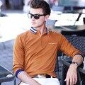 Англия Стиль Поло Рубашки Мужские 2017 Весна Новые Длинным Рукавом Бизнес Homme Тянуть отложным Collor Мода Случайный Человек Polo 3XL