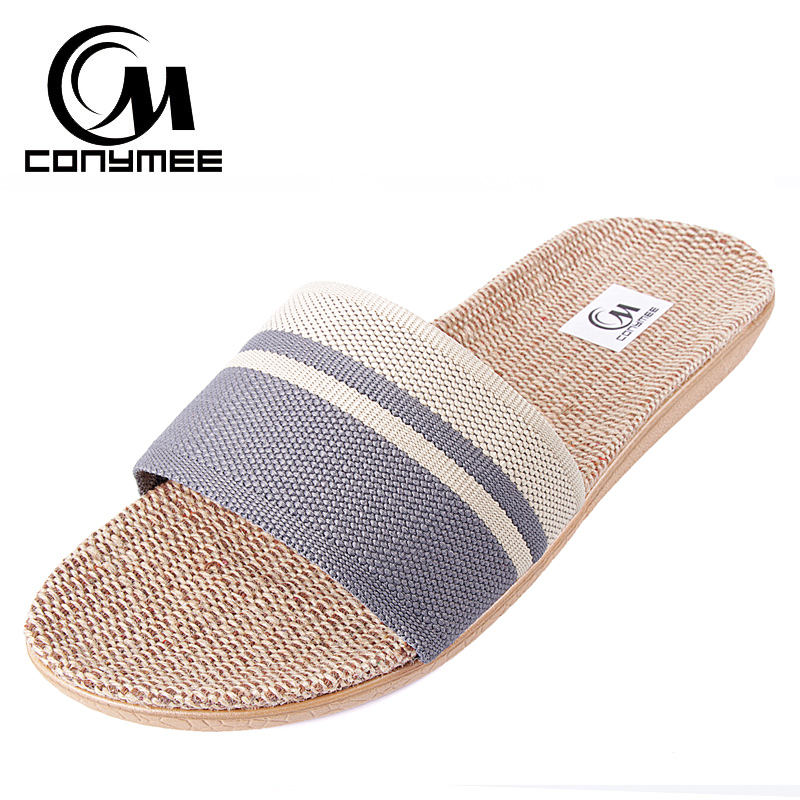 купить Fashion 2018 Flax Home Slippers Indoor Floor Shoes Casual Sneakers Linen Silent Sweat Slipper For Summer Men Sandals по цене 542.62 рублей