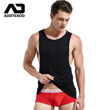 Hot!10colors brand ADDTEXOD sexy tank tops solid cotton vest Men's fashion breathable fitness clothing vest sleeveless garment
