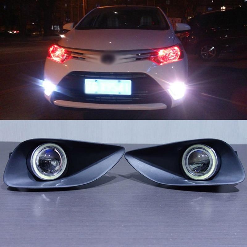 Ownsun COB Ангел глаз Кольца объектив проектора с 3000 К галогенная лампа источник черный Противотуманные фары бампера для Toyota vios 2008 13