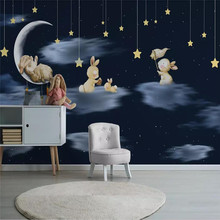 Nordic minimalist hand-painted cartoon rabbit sky night childrens room background wall cloth custom wallpaper mural
