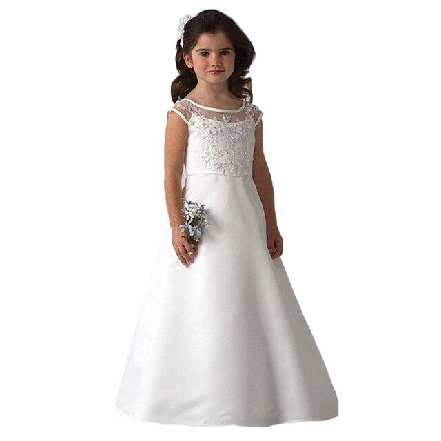 f4ebd6ba39e8a US $49.0 |Elegant Vestidos de Primera Comunion Floor Length Long White  Dress Girls Lace Handmade Flower White Holy First Communion Dresses-in  Flower ...