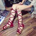 2016 новые летние девушки крест ремень сандалии высокие сандалии гладиаторов высокие сандалии для женщин сандалии загрузки обувь 3 цвета CRUSHOE18
