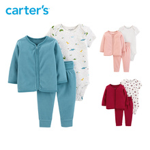 Carter s autumn winter 3pcs baby clothes set fleece zip up coat cotton rompers baby clothing