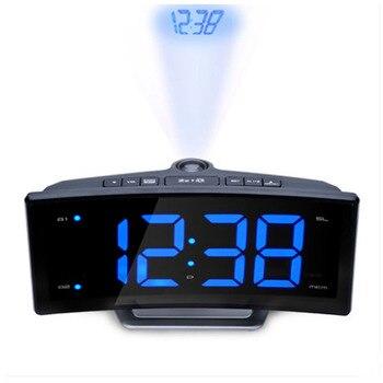 LED Jam Digital FM Radio Proyeksi Alarm Jam Desktop Layar Besar untuk Dekorasi Rumah