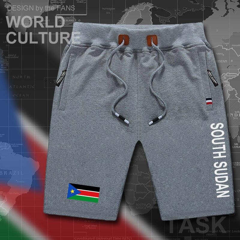 South Sudan Mens Shorts Beach Man Men's Board Shorts Flag Workout Zipper Pocket Sweat Mid Clothing 2017 Cotton New Sudanese SSD