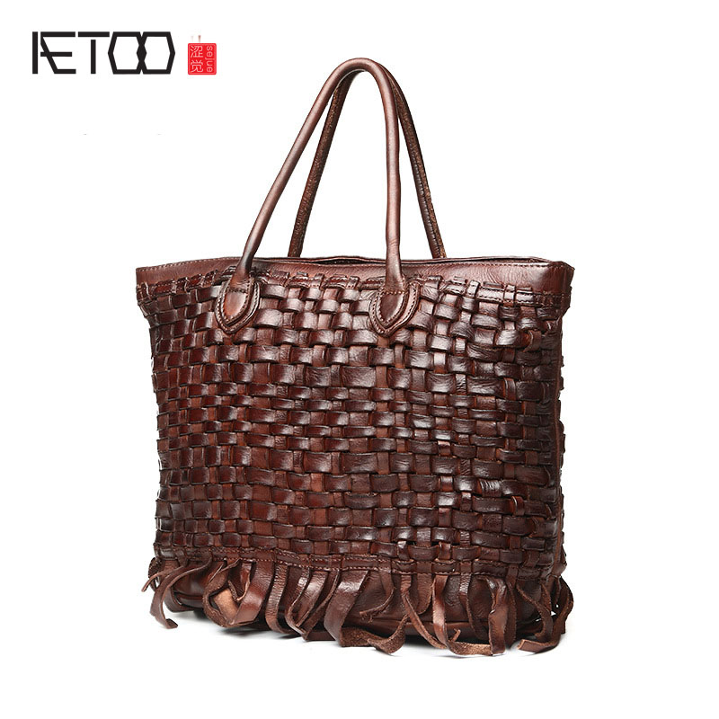 AETOO The new leather handbags Europe and the United States trend of women 's shoulder wrapped tannage woven tide package free shipping 5pcs it8712f s in stock
