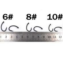 MNFT 100Pcs Teflon Coating Eyed Yn Carp Hooks Arc Barbed High Carbon Steel Matte Black With Barb For Carp Fishing Hook