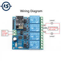 5V ESP8266 ESP-01 4 Channel Wifi Relay Module Remote Control Switch For Smart Home IOT Transmission Phone APP Controller