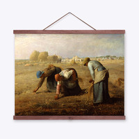 Jean Francois Millet Gleaners Harvest Wooden Framed Famous Canvas Oil Paintings Living Room Home Decor Wall Art Pictures Scroll