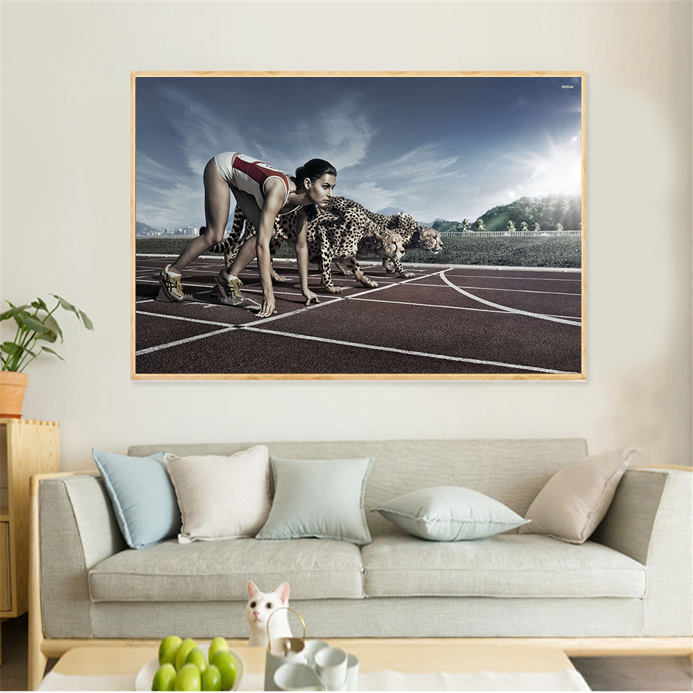 Modern Minimalist Sport Canvas Painting Women Runing With