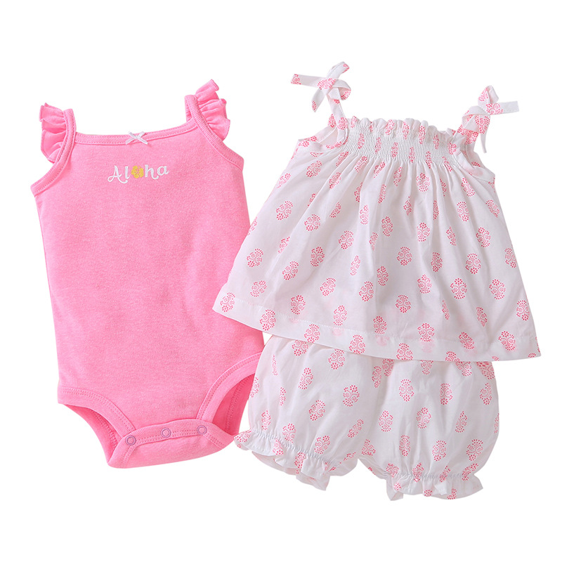 Summer Baby girls clothes pink floral Baby girl Tops + shorts +romper brand 3pcs baby gi ...