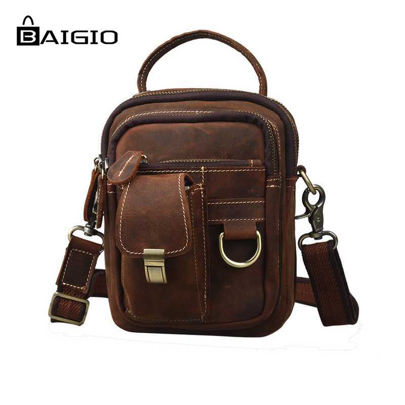 Baigio Men Vintage Style Bag Thick Cowhide Genuine Leather Travel Waist Chest Day Pack Cross Body Bag Fashion Casual Travel Bags new 2016 genuine leather crocodile alligator pattern men vintage messenger bag waist pack men s bags chest pack waist bag 3864