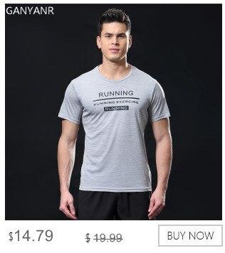 GANYANR Running T Shirt Men Basketball Tennis Sportswear Tee Sport Fitness Gym Jogging Tops Slim Fit quick dry Exercise Training 9