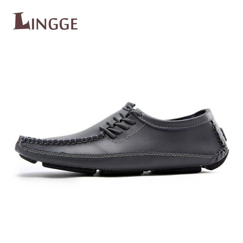 Brand New Men Shoes Big Size Mens Shoes Casual High Quality Split Leather Shoes Lace Up Man Flats Shoes