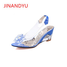 Plus Size 32-43 Crystal Transparent Diamond Wedges Sandals High Heels 6cm Slope Sandals Summer 2018 Sexy Women Platform Shoes slope with super high heels sexy transparent diamond beaded sequined flowers fish head shoes lace summer sandals and slippers
