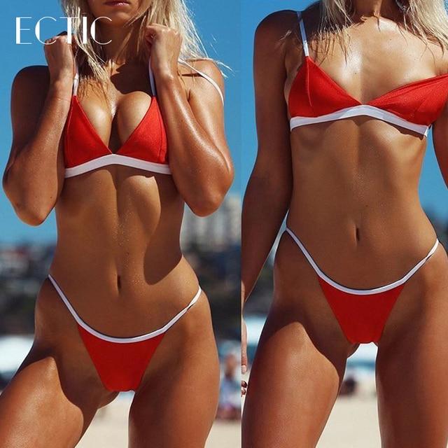 ECTIC triangle skimpy micro bikini string swimsuit mini sexy little girls  thong bathing suits swimwear 2 pcs red black and white