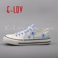 E LOV 2017 Summer Women Hand Painted Canvas Shoes Floral Cartoon Casual Flats Plus Size Espadrilles