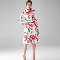 High Street Ladies Fashion Trench 2019 Early Autumn Rose & Butterfly Jacquard Belt Double Breasted Hot Sale Pink Long Slim Coat