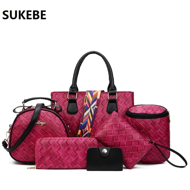 aa7450118c Women Leather Handbag Composite Bags 6 pcs Set New Designer Handbags Famous  Brands Fashion Bag For Women Messenger Bags