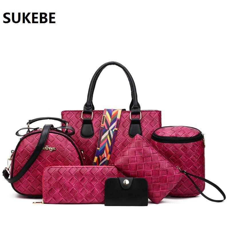 Women Leather font b Handbag b font Composite Bags 6 pcs font b Set b font