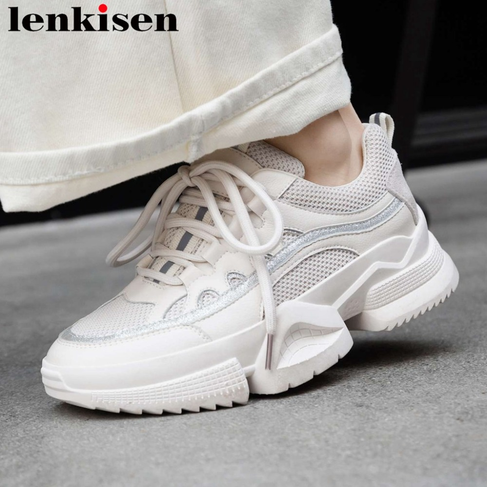 Well ventilated natural leather mesh lace up platform thick med bottom vintage concise style sneakers white