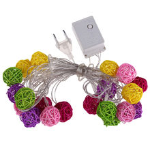 Hot 5M 220V 20 LED White/Multi Color Rattan Ball String Fairy Lights For Christmas Xmas Wedding decoration Party PTSP