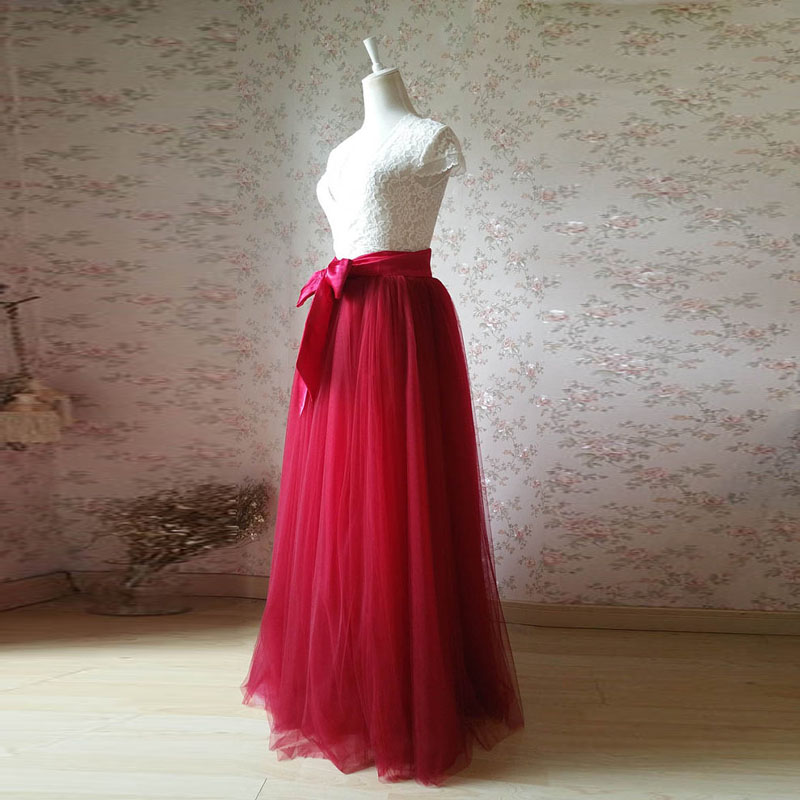 586c78ff66234 2017 Maxi Tulle Skirt Plus Size Wine Red Bridal Long Tutu Skirt with Bow  Solid Mesh Elegant Wedding Party Skirt Vintage faldas-in Skirts from  Women s ...