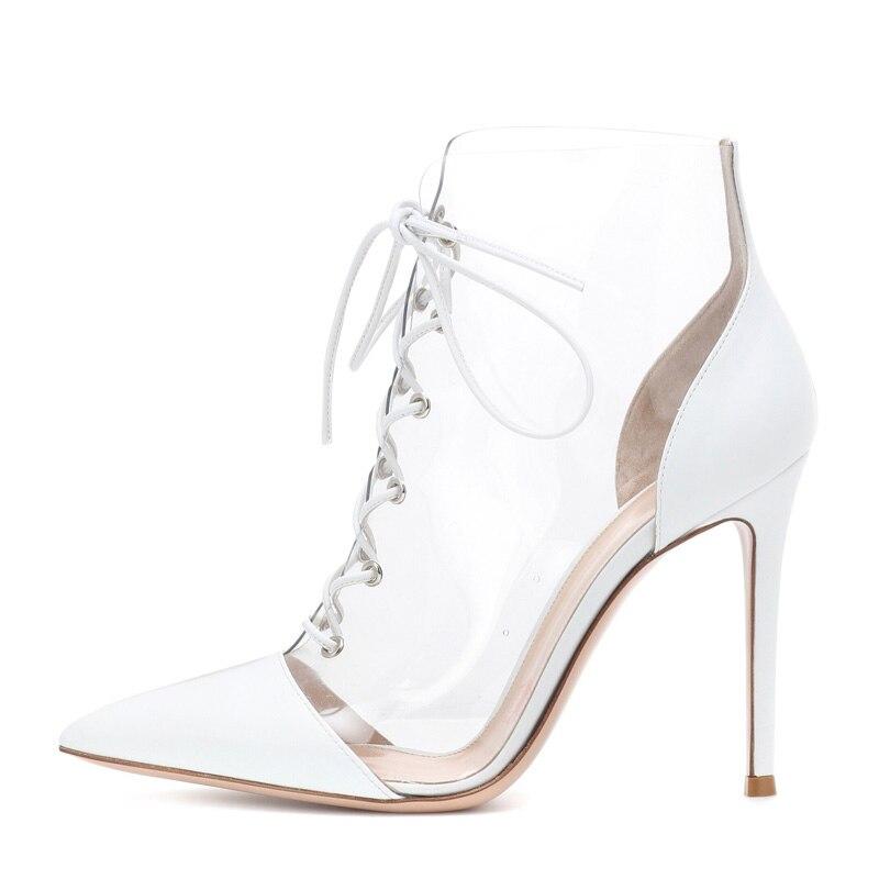 2019 Marque design chaussures pour femmes Mode Transparent PVC pompes en cuir printemps chaussures d'automne bout pointu croix-attaché mince talons hauts