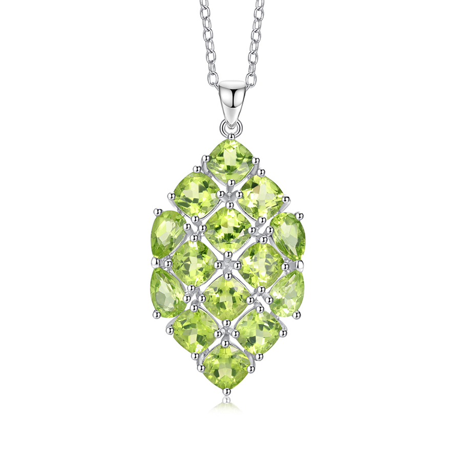 PJC Natural Gemstone 5*5mm Oval Shape and 6*4mm Pear Shape 7.97cts Manchurian Peridot 925 Sterling Silver Pendant