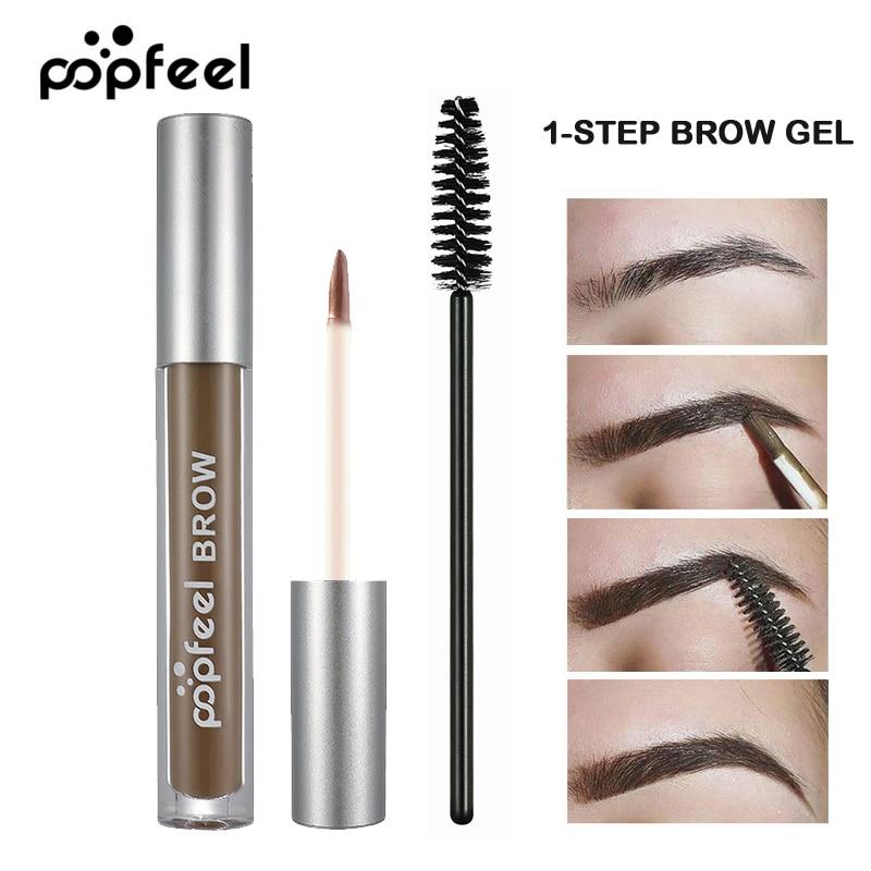 POPFEEL Brand Waterproof Henna Eyebrow Enhancers Makeup Long Lasting Black Brown Pigments Color Tattoo Eye Brow Tint Gel