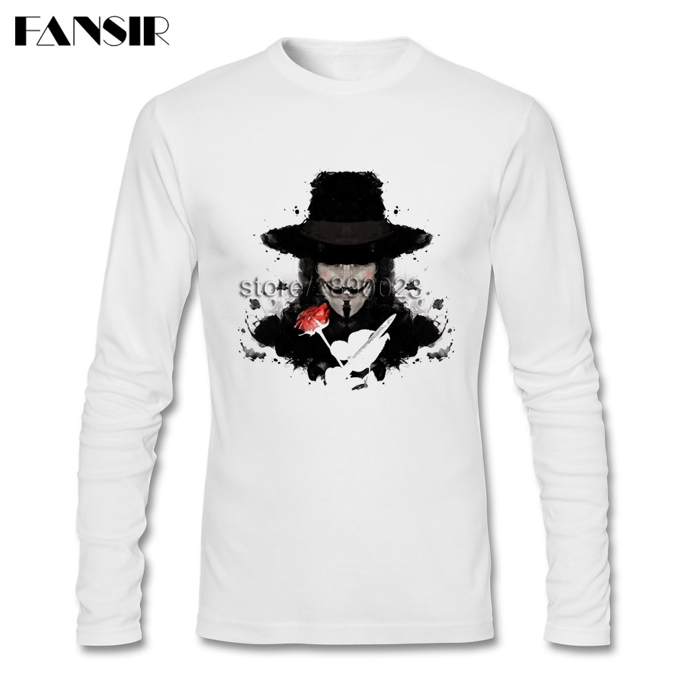 Leisure T Shirts Mens Ink For Vendetta V For Vendetta Movie Round Neck Long Sleeve Cotton Men Tee  Shirts 3XL