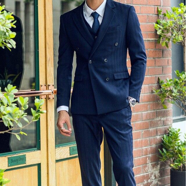 Темно синий комплект из 3 предметов на заказ в тонкую полоску костюм Для мужчин Шерсть изготовлено наполовину из холстa Slim Fit костюм Для мужч