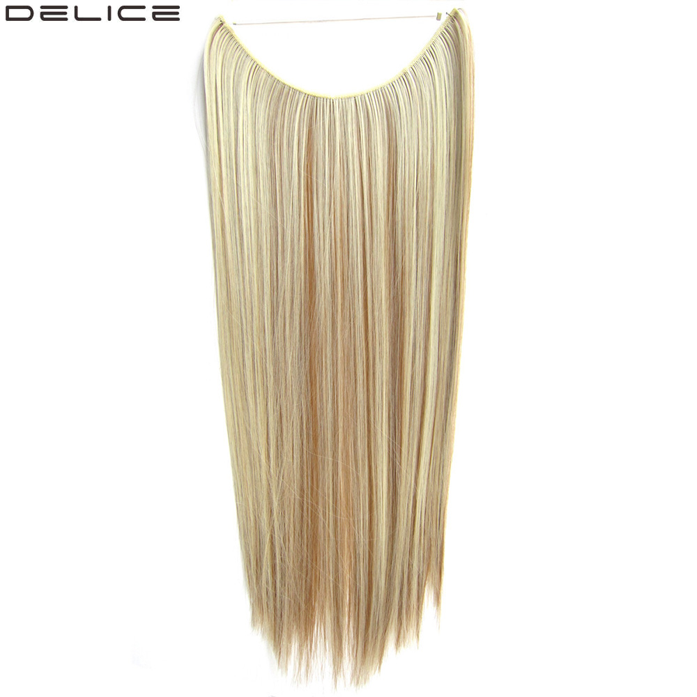 Delice Long Straight Hair Extensions Synthetic Fish Line Invisible Hair Extension Hairpieces For Women