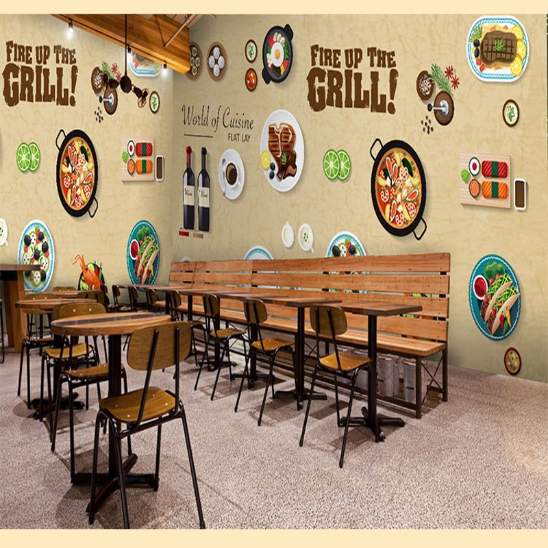Photo wallpaper cute cartoon blackboard graffiti food for Coffee shop mural
