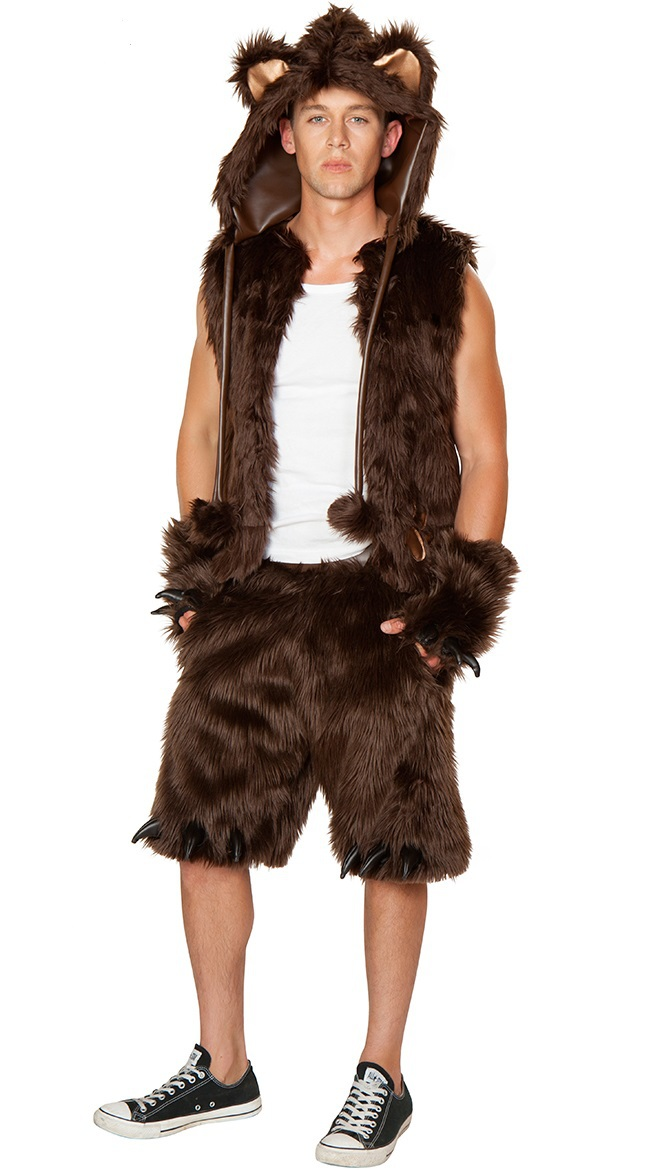 Sexy Mens Furry Brown Bear Costume Halloween Fancy Dress -3467