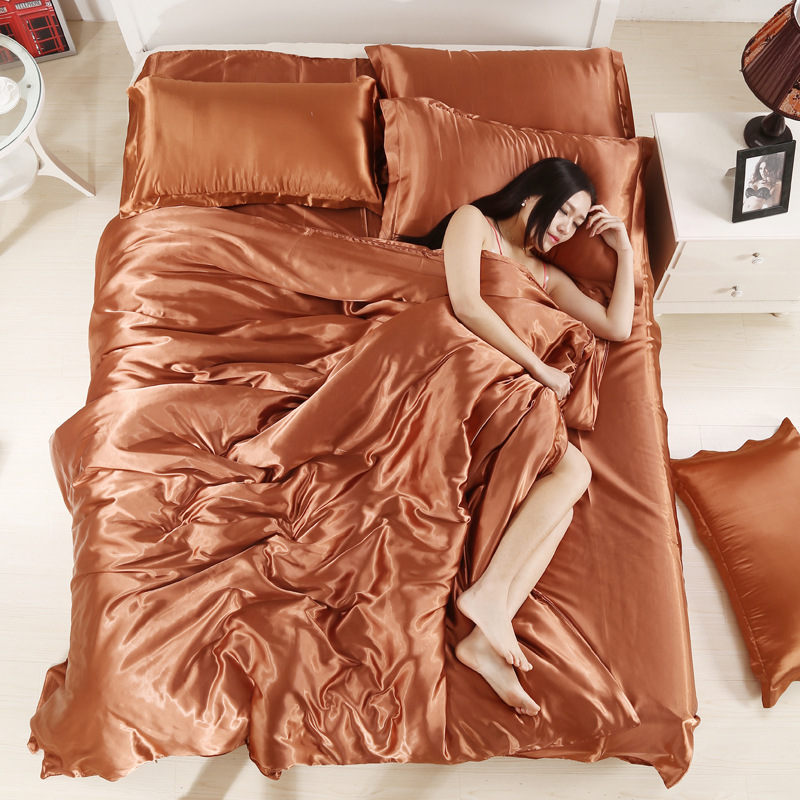 Newest Solid Color 100% Pure Satin Silk Bedding Set King Size Bed Set Bedclothes Duvet Cover Flat Sheet Pillowcases Home Textile