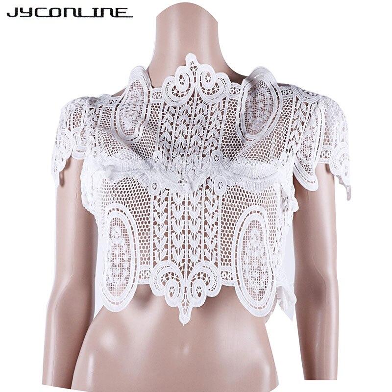Sexy Camisetas Mujer Blusa blanco Ahuecada 2017 Encaje Blanco De Ganchillo Negro Para Manga Blusas Elegantes Jyconline Tops Corta FOdnwAqCFx