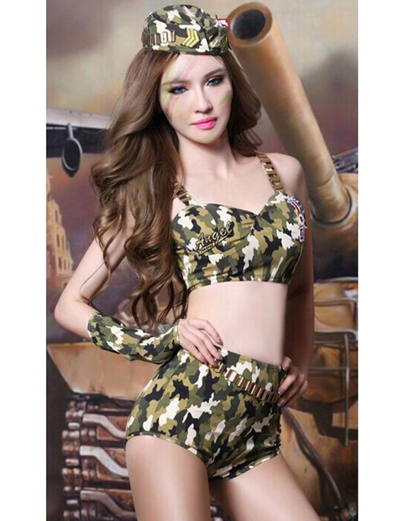 MOONIGHT Camouflage Costume Set Army Military Uniform Fancy Cosplay Carnaval Costume Women Adult Sexy Halloween Costumes 1